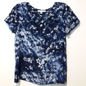 Piperlime Collection Silk Blue white floral shirt